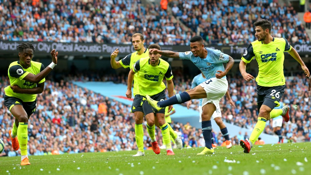 IT'S TWO : Gabriel Jesus doubles the lead with a well-taken drive into the near post