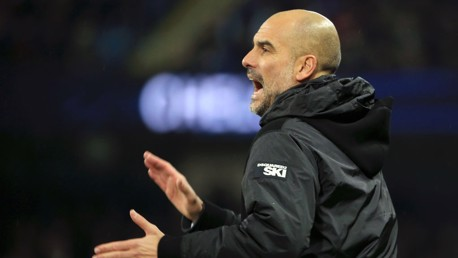 RALLYING CRY: Pep Guardiola tries to inspire his players from the sideline.