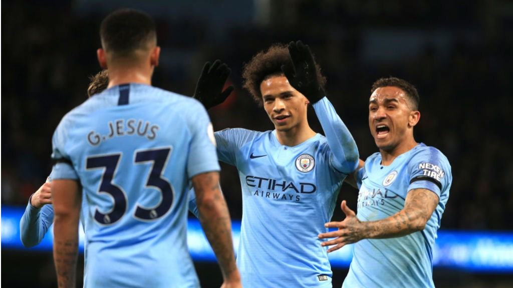 IN-SANE : Leroy Sane is all smiles after doubling City's lead with a cracking finish
