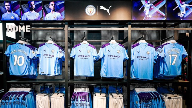 BLUE COLOURS : City's new 2019/20 PUMA home kit takes pride of place in the revamped City Store