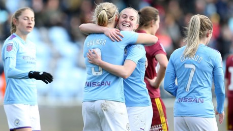 GOAL: Pauline Bremer celebrates with Keira Walsh against Ipswich Town.