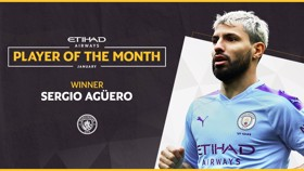 WINNER: Sergio Aguero has been voted Etihad Player of the Month for January.
