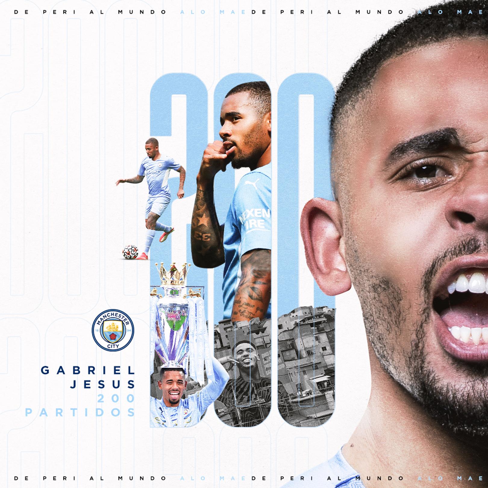 Gabriel Jesus alcanza los 200 partidos con el City