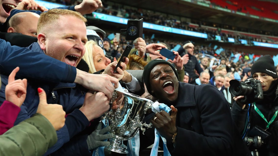 TOGETHER: Benjamin Mendy celebrates with fans after the 2019 Carabao Cup final,