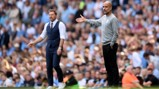 BOSSES: Guardiola and Hasenhuttl watch on.