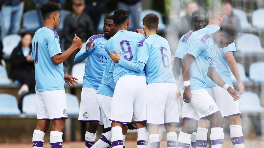 BOYS IN BLUE : City celebrate our opening goal away at Shakhtar