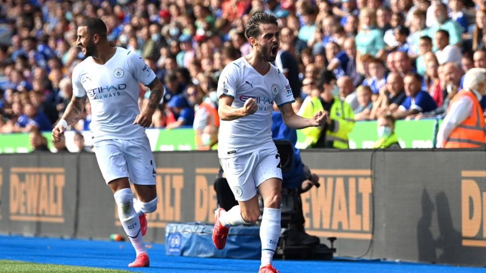 LEICESTER OUTFOXED : Bernardo celebrates grabbing the winner