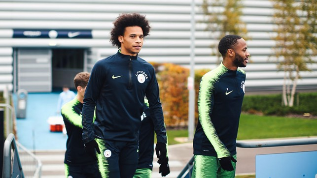 WALKING TALL : Leroy Sane and Raheem Sterling report for duty