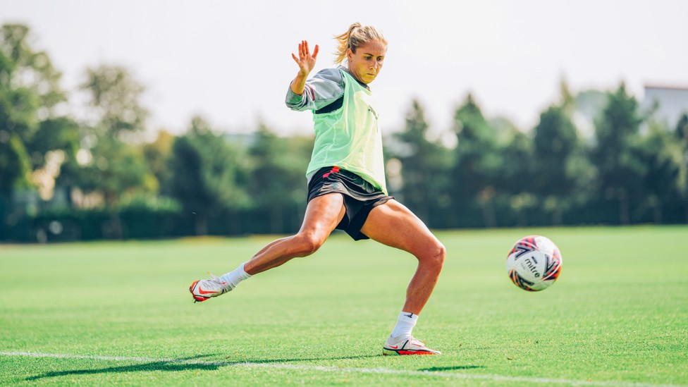 CAPTAIN'S CALL: Steph Houghton goes through her paces