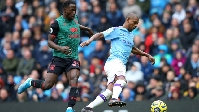 RED CARD : City's second half display was marred only by Fernandinho's sending off for two yellow cards.