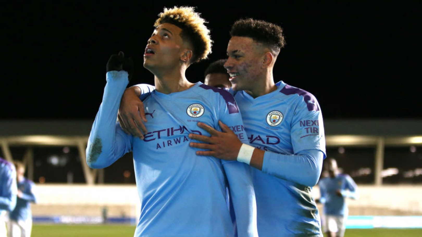 ALL SMILES: Felix Nmecha celebrates with Morgan Rogers after his goal in the EDS side's impressive 4-1 win against Everton last Friday