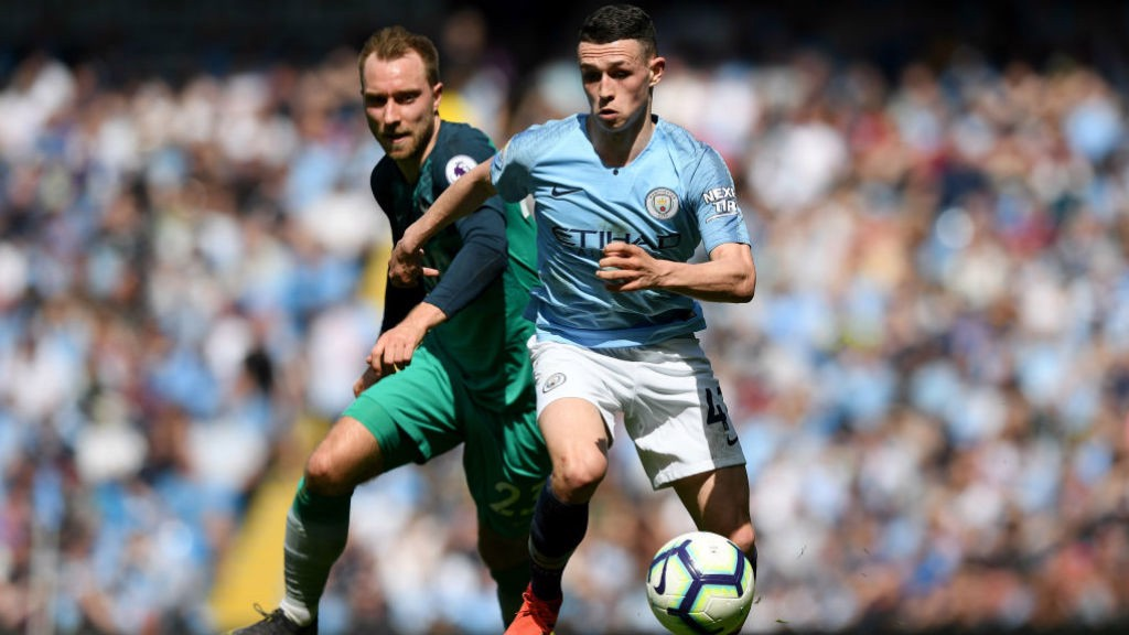 CENTRE OF ATTENTION : Phil Foden on the attack against Tottenham