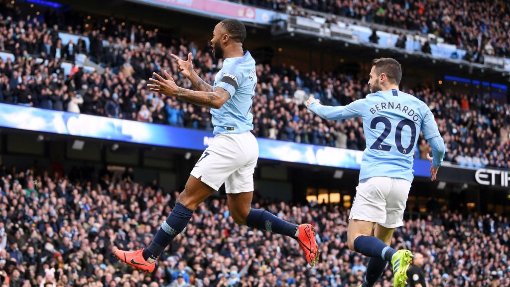 Raheem Sterling celebrates early lead for City.