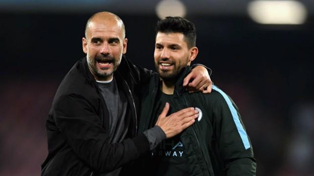 HISTORY MAN : Manager Pep Guardiola greets Sergio after his historic goal at Napoli