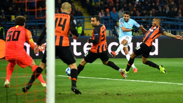 TAKE THAT : Riyad Mahrez powers in another shot on the Shakhtar goal