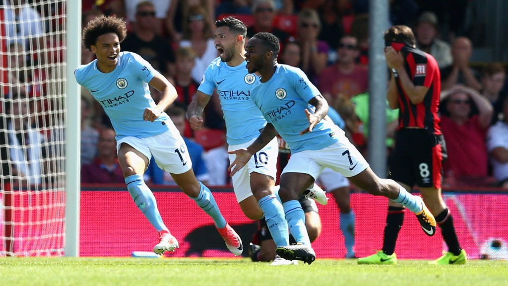PURE JOY : Sterling rushes over to the travelling supporters as he snatches all three points in the final minute (at Bournemouth!)