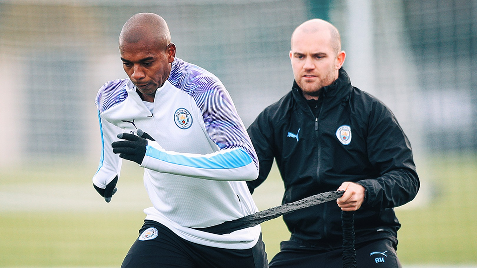 BRAZILIAN BLEND: Fernandinho powers through a fitness drill