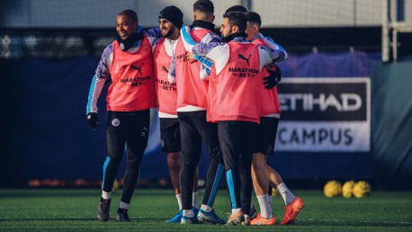 GROUP HUG: The players were in cheery mood during the session.
