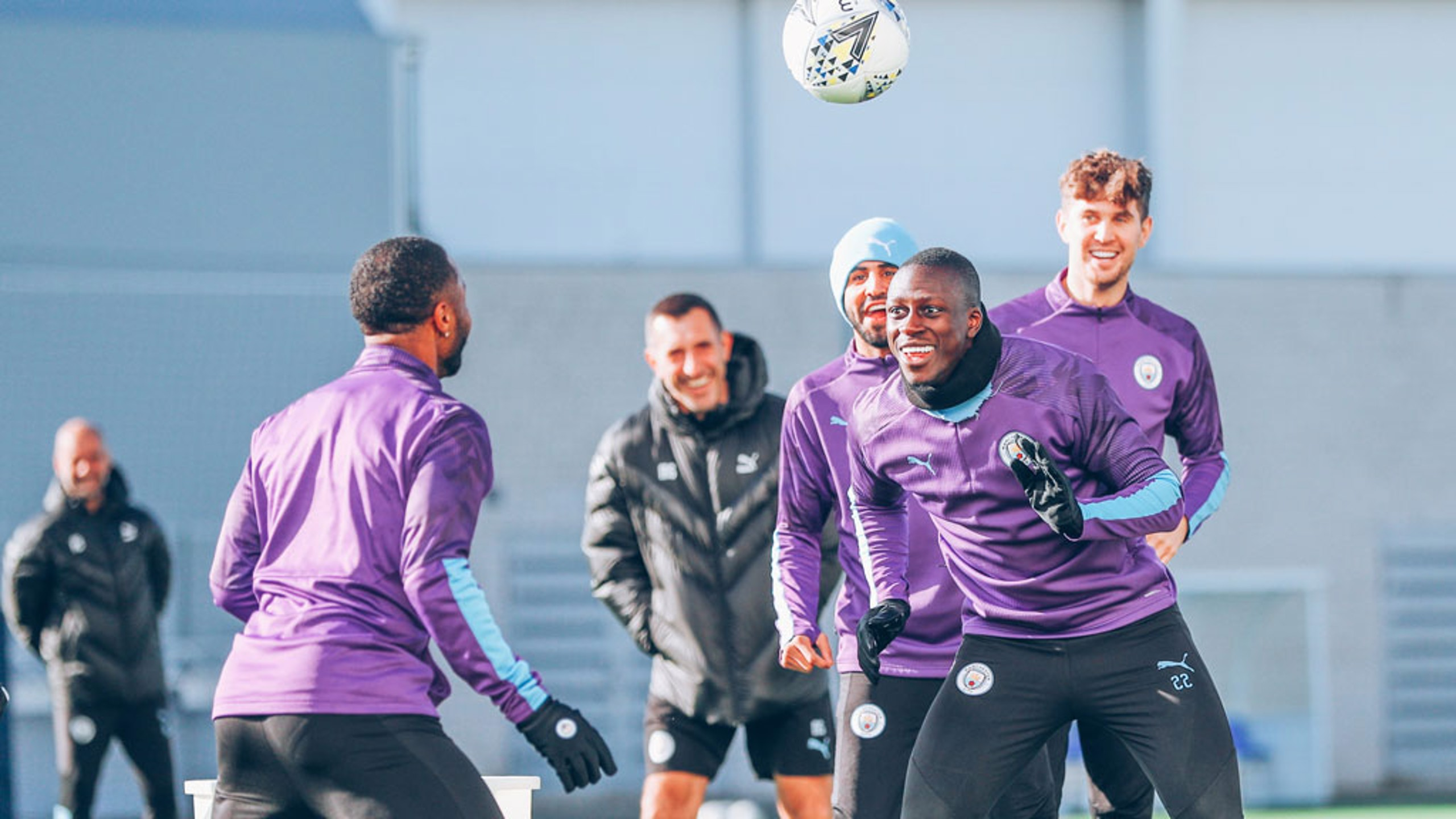 HEADS YOU WIN: Raz and Benjamin Mendy engage in a spot of head tennis
