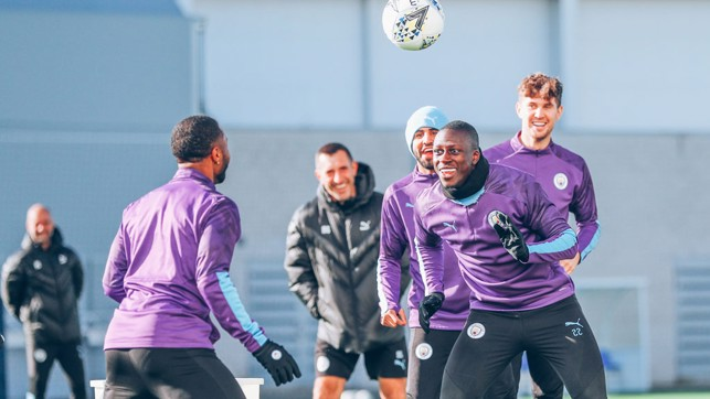 HEADS YOU WIN : Raz and Benjamin Mendy engage in a spot of head tennis