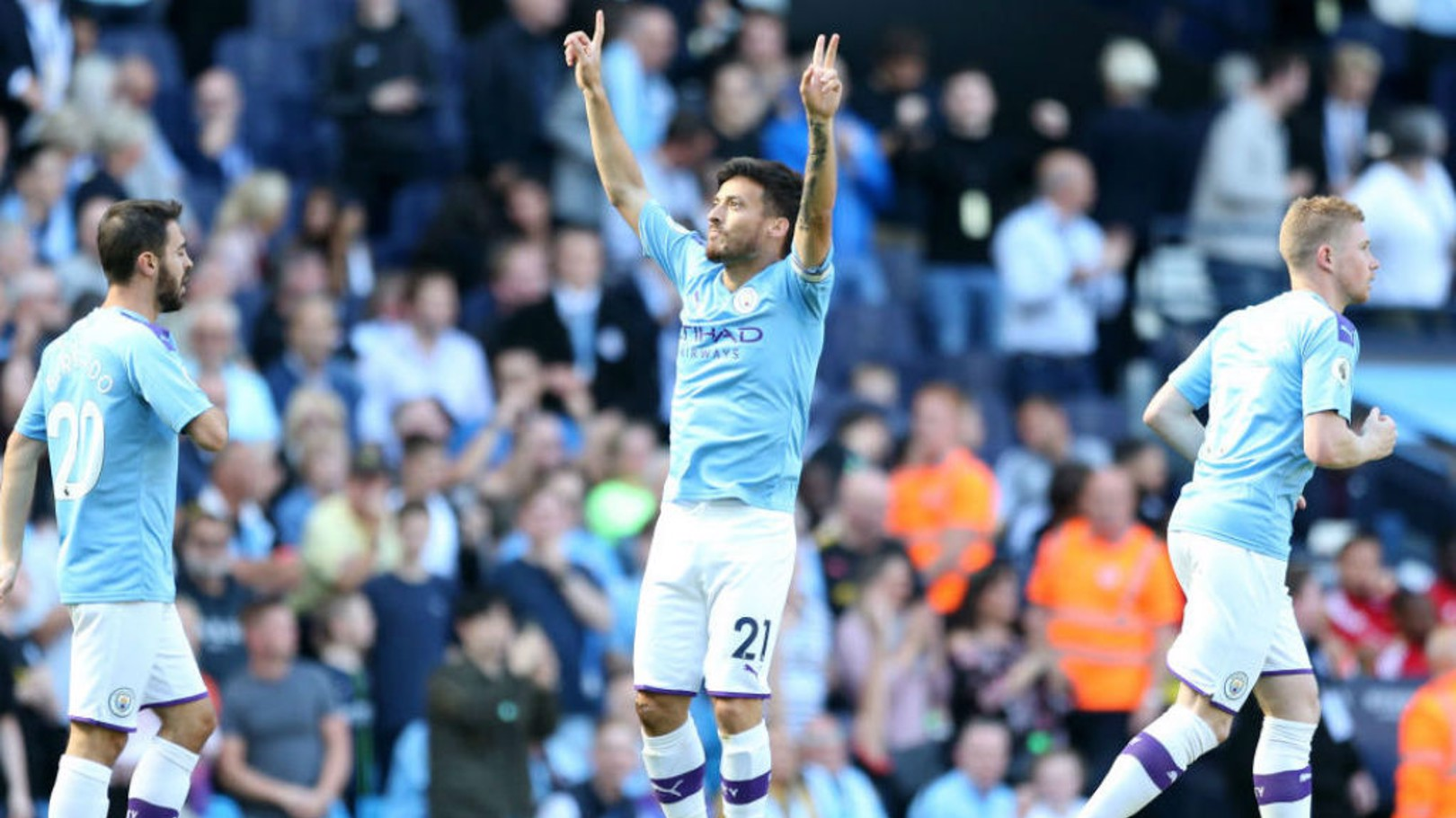 STRIKE ONE: David Silva celebrates after his opener