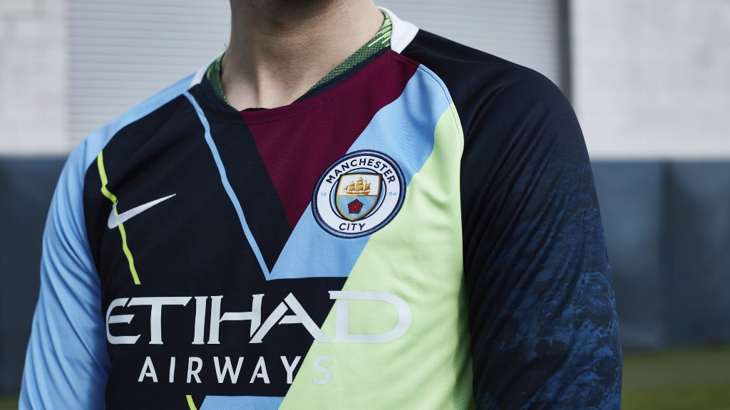 CELEBRATION : Nike and Manchester City have come together to create a special jersey commemorating the partnership stretching back to 2013, consisting of six major trophies won.