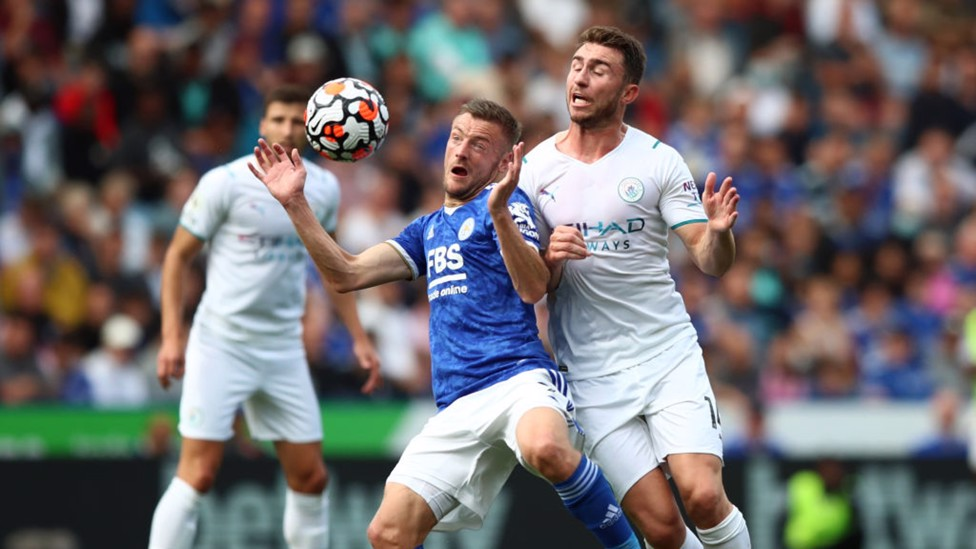 LAPORTING FOR DUTY : Aymeric Laporte battles for possession with Jamie Vardy