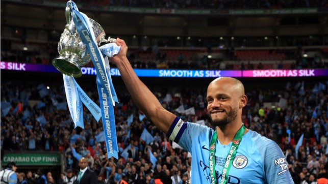 CARABAO KING : Kompany lifted the Carabao Cup for the fourth time after our dramatic win on penalties over Chelsea earlier this year