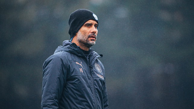 THE BOSS: Pep Guardiola keeps a watchful eye over proceedings
