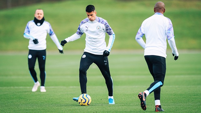 ON THE BALL : Joao Cancelo goes through his paces