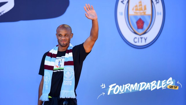 SKIPPER : Vincent Kompany addresses the crowd at the champions parade.