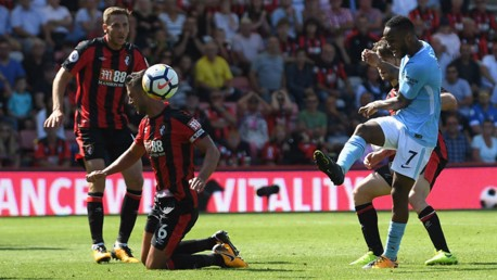 LAST GASP HERO: Raheem Sterling scores City's dramatic injury time winner at Bournemouth back in August 2017