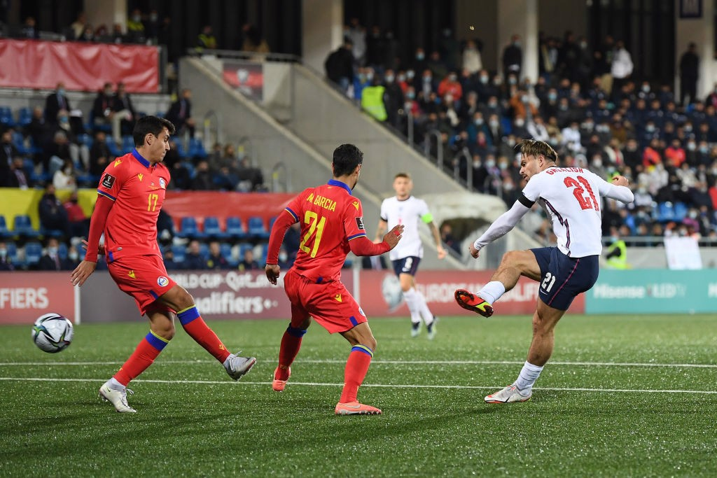 ONE TO REMEMBER: Jack Grealish rifles home his first goal for England