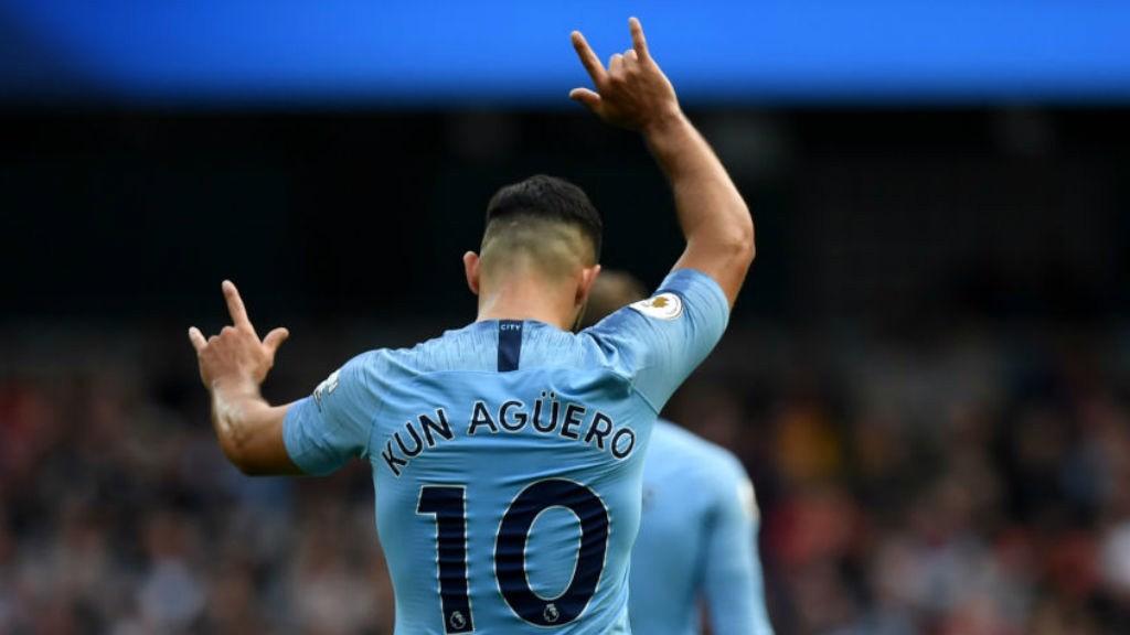 PERFECT TEN : Sergio Aguero celebrates after his first half goal
