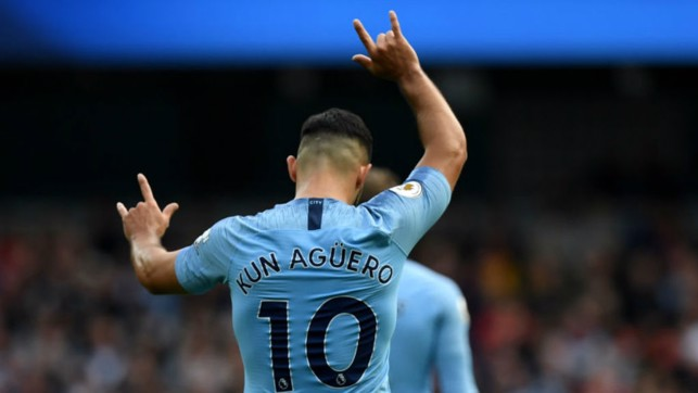 PERFECT TEN : Sergio Aguero celebrates after his first half goal