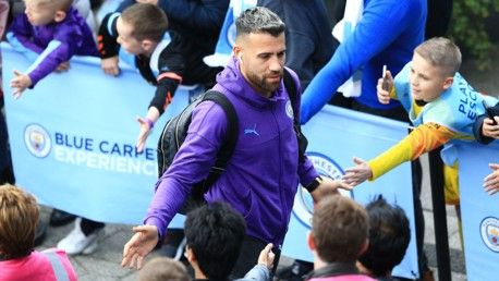 THE GENERAL: Otamendi arrives to the delight of the City fans.