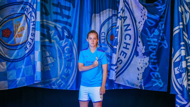 BADGE OF HONOUR : Lifelong City fan Keira Walsh says she can't wait to tackle United this weekend