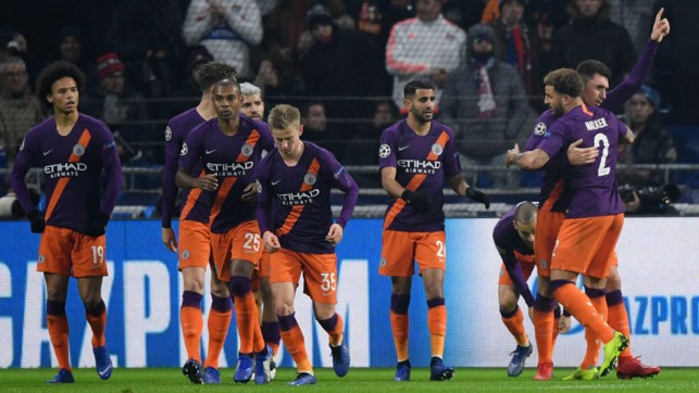 SQUAD GOALS : The Blues celebrate after Aymeric Laoprte's vital leveller