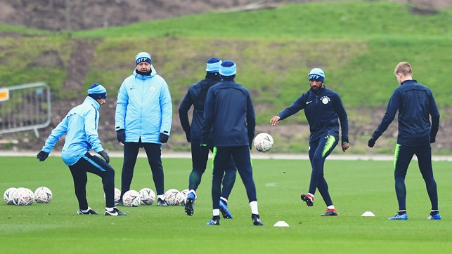 RONDO TIME : Fabian Delph and Kevin De Bruyne are amonsgst those working on their close-quarter skills