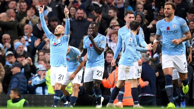 BLUE HEAVEN : David Silva celebrates after opening the scoring for City