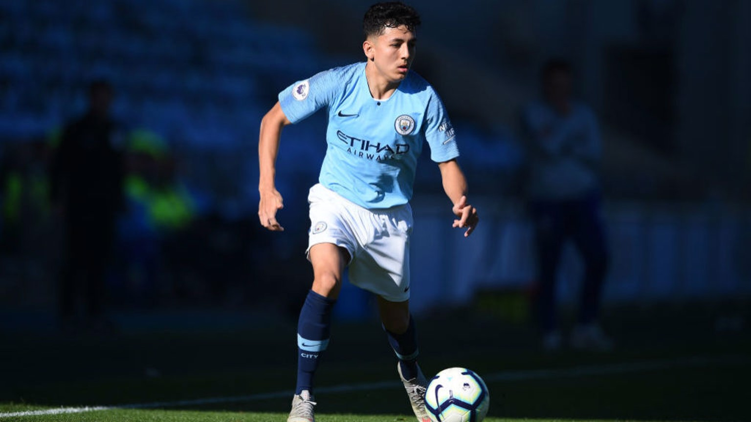 TARGET MAN: Ian Poveda's strike was enough to seal victory for City's EDS side at Derby