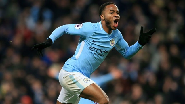 FOCUS : Sterling celebrates scoring another late winner against Southampton.