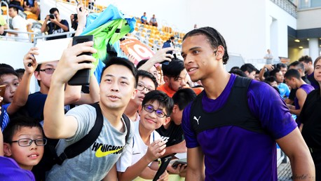 SELFIE TIME: Leroy Sane was in demand with the Hong Kong fans!