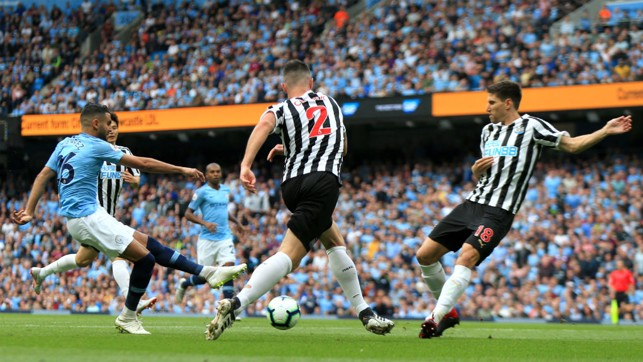 EARLY CHANCE : Riyad Mahrez looked close to giving us the lead in the opening moments of the game.