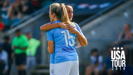 YOUNG STARS: Georgia Stanway congratulates Lauren Hemp on her opening goal