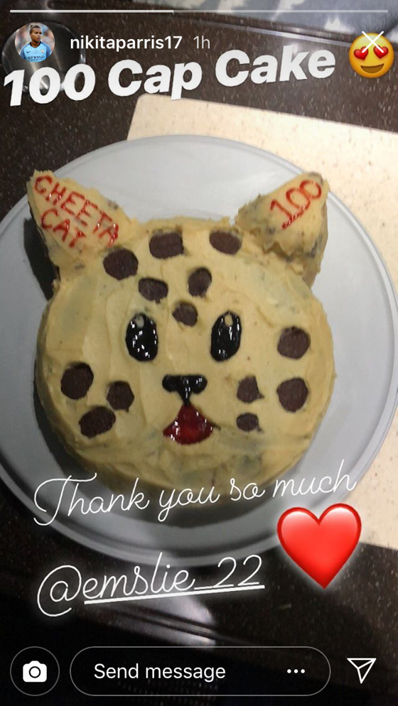 CHEETAH CAT: Nikita Parris received a cake from Claire Emslie to celebrate her 100th City appearance