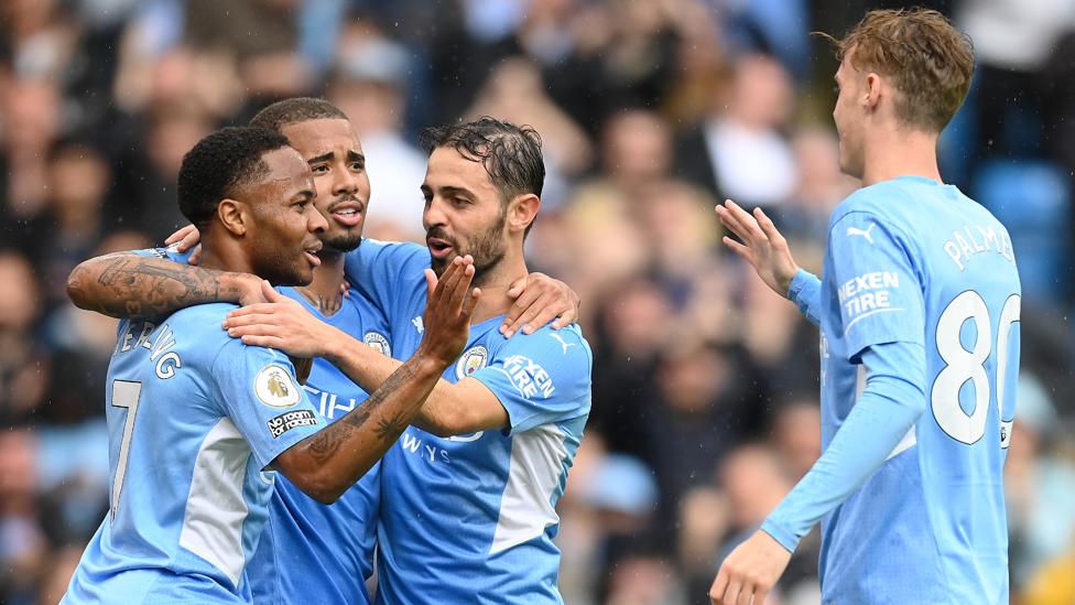 TEAM PERFORMANCE : Bernardo, Jesus, Sterling and Palmer celebrate City's fourth goal