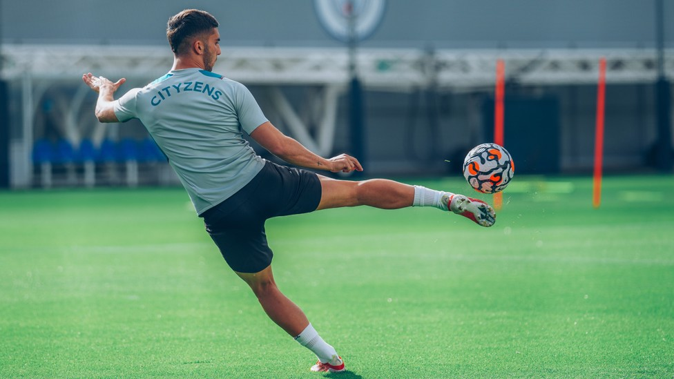 BY THE RIGHT: Our Spanish attacking winger goes through his paces