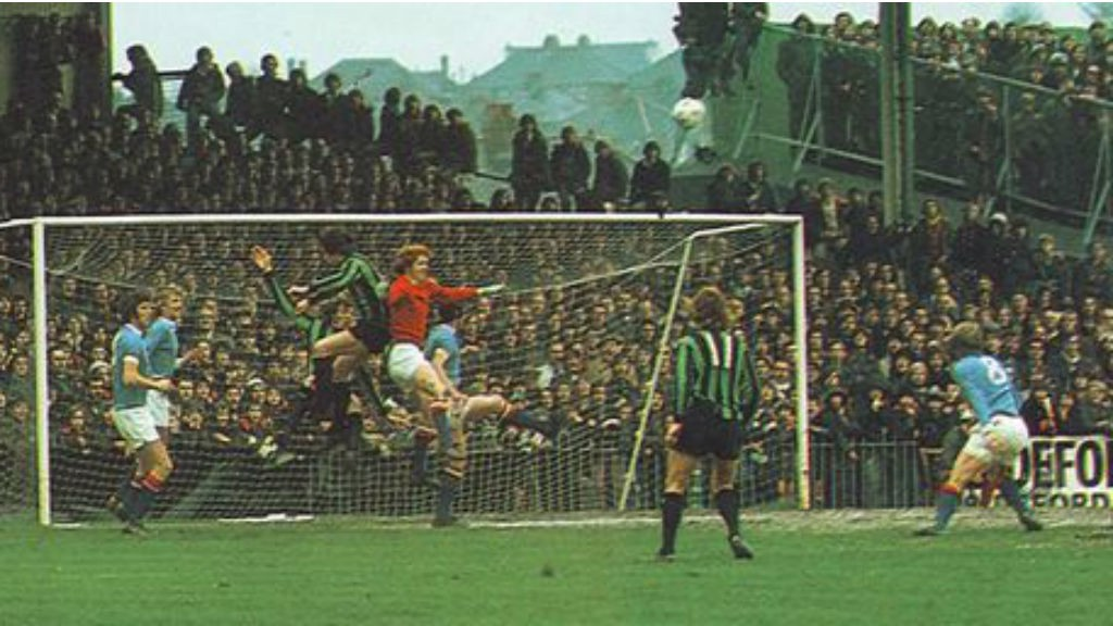 ACTION STATIONS: City 'keeper Keith MacRae looks to clear the danger during our 1974 League Cup semi-final first leg tie at Plymouth