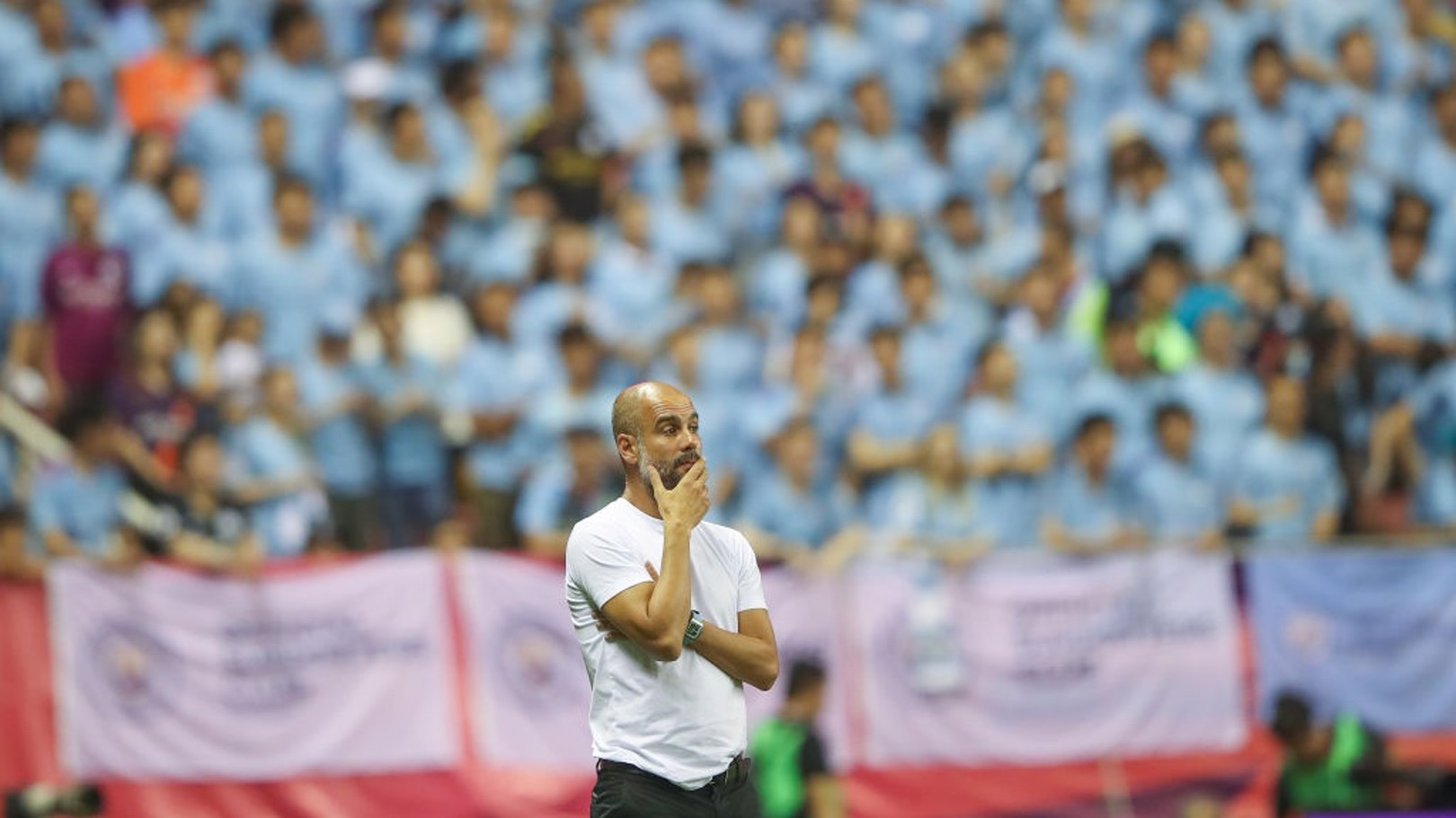 THE GAFFER: Guardiola watches on